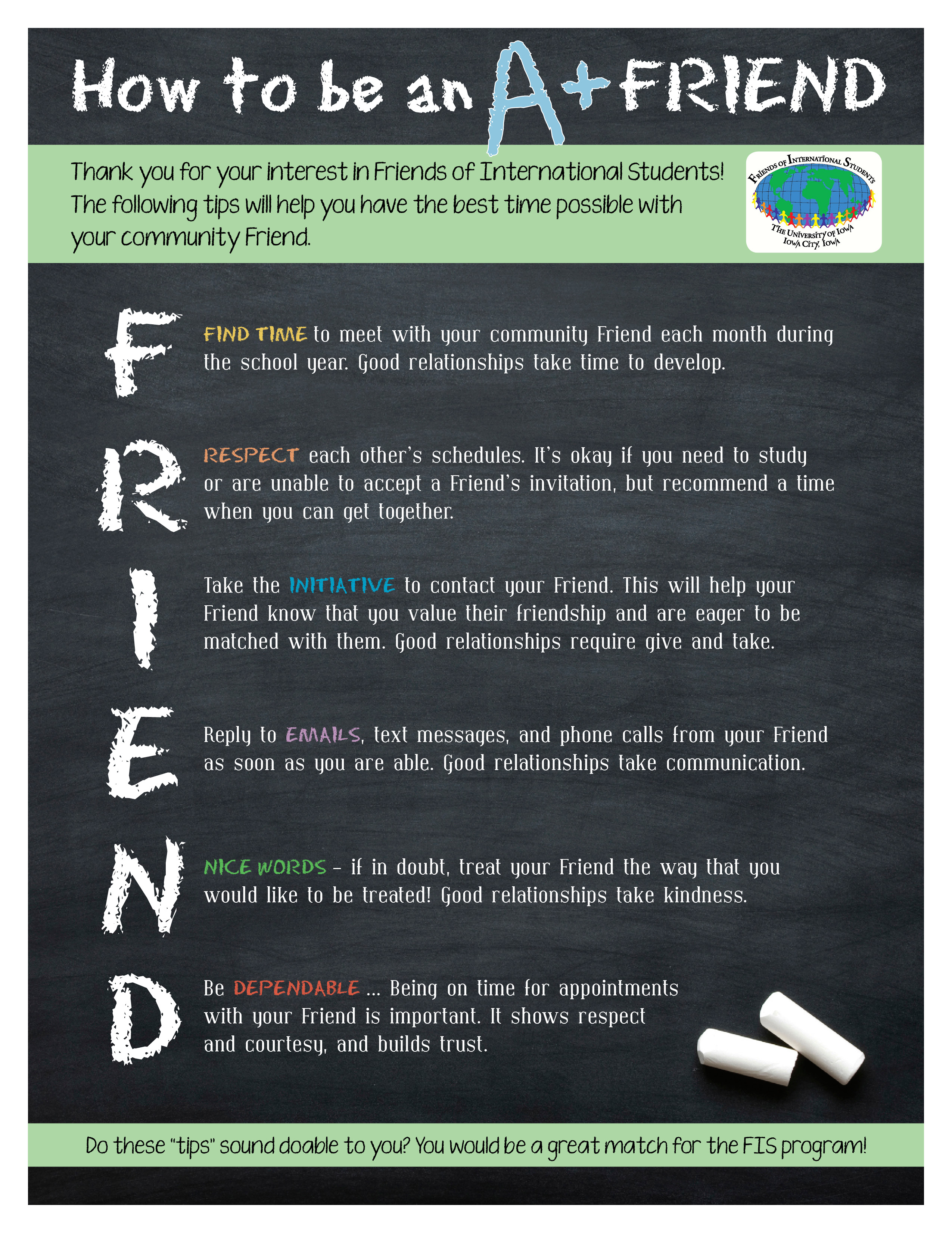 how to be an a friend friends of international students